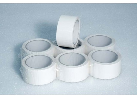 CINTAS PVC BLANCO 32 MICRAS ADHESIVO VOLVENTE 50 mm 66 ml