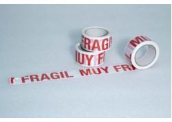 CINTA PVC BLANCA IMPRESA TINTA ROJA (TEXTO MUY FRAGIL) 50 mm 66 ml